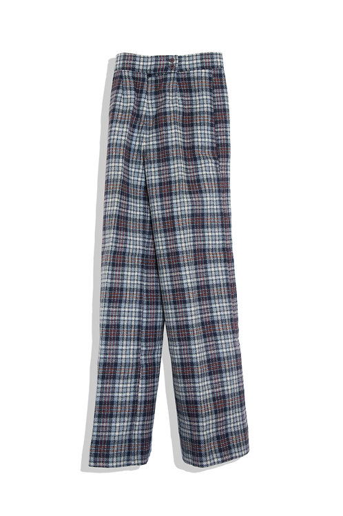 Pure wool check trousers