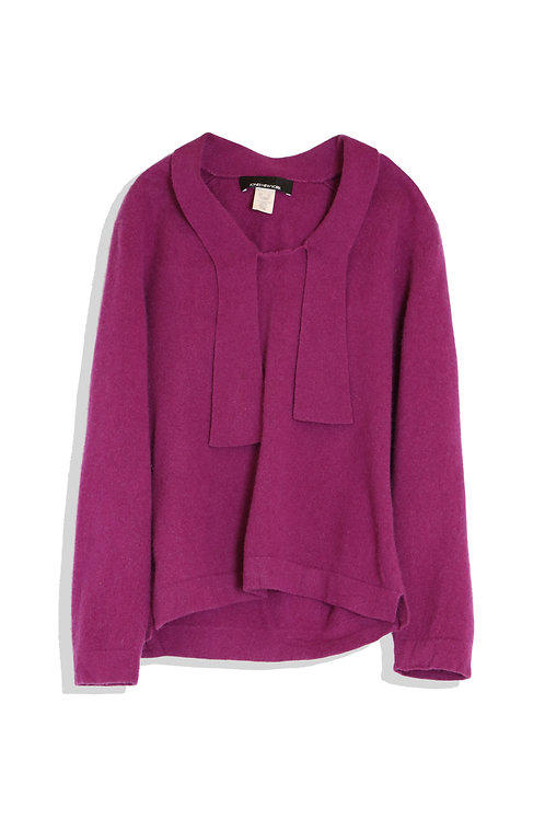 purple knitted top with tender ribbon