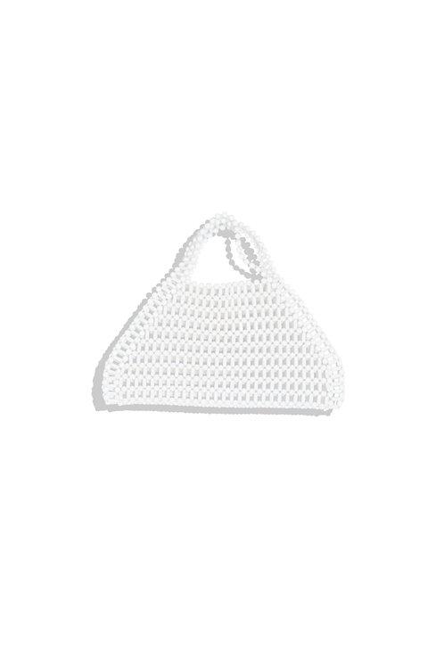 white beads hand bag