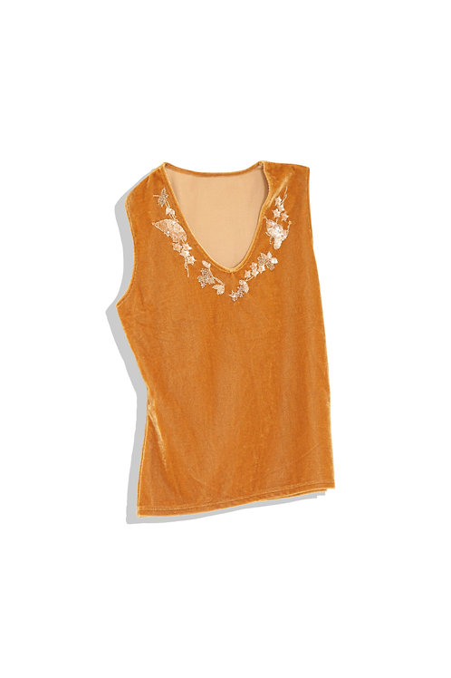 flower decorated velour tank