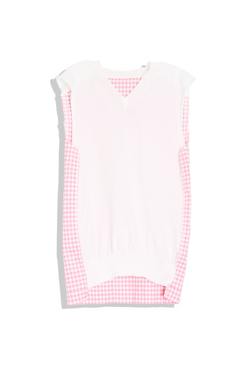 CDG pink gingham, see through front