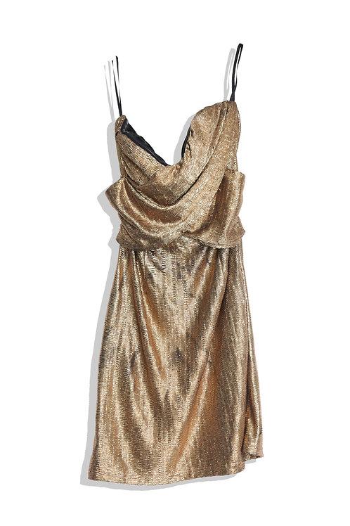 Shiny gold mini dress