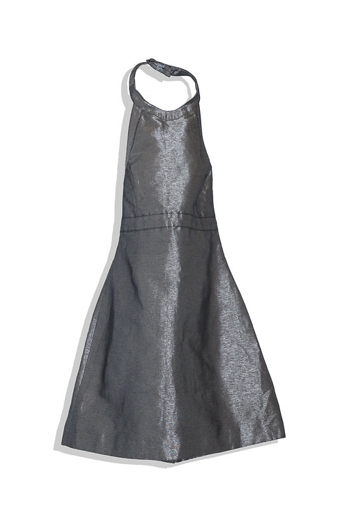 metallic denim mini dress