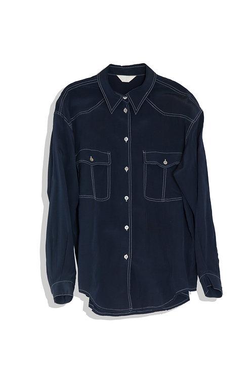 thin navy shirts with white stitch