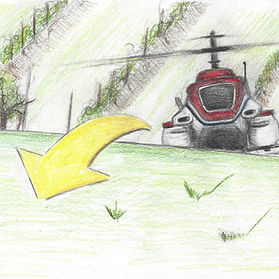 Illustration of Yamaha RMAX spraying a vineyard