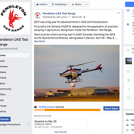 Screenshot of Pendlton UAS Test Range Facebook Page