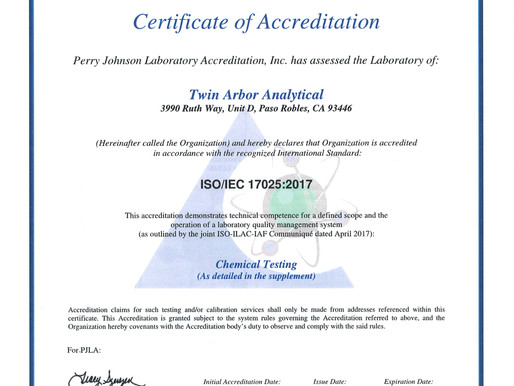 We did it! We earned our ISO/IEC 17025:2017 Certificate of Accreditation!