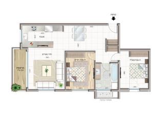 3 room apartment  Floor 1-3 (75 m²)  Balcony 6 m²