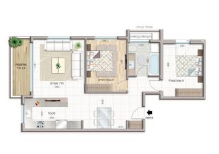 3 room apartment  Floor 1-4 (70 m²)  Balcony 6 m²