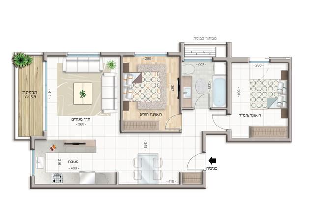 Appartement 3 pièces Étage 1-4 (70 m²) Balcon 6 m²