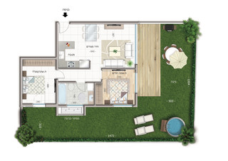 3 room apartment  Garden Apartment (60 m²) 80 m² garden