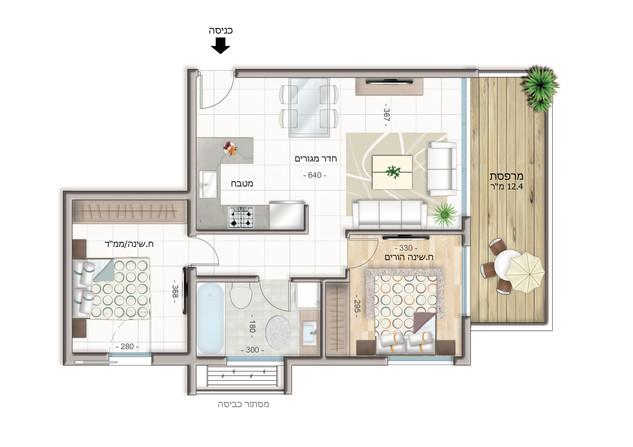 Appartement de 3 pièces  Étage 2-4 (60 m²)  Balcon 12 m²