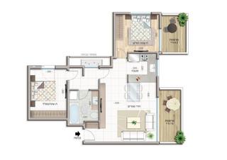 3-room apartment  Floor 1-3 (67 m²)  Balcony 14 m²