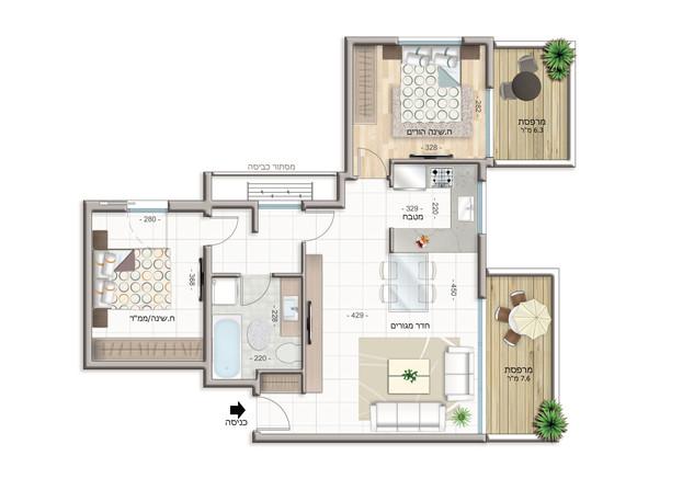 Appartement de 3 pièces  Étage 1 à 3 (67 m²)  Balcon 14 m²