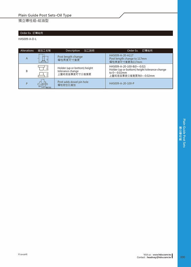 Plain Guide Post Sets - Oil Type