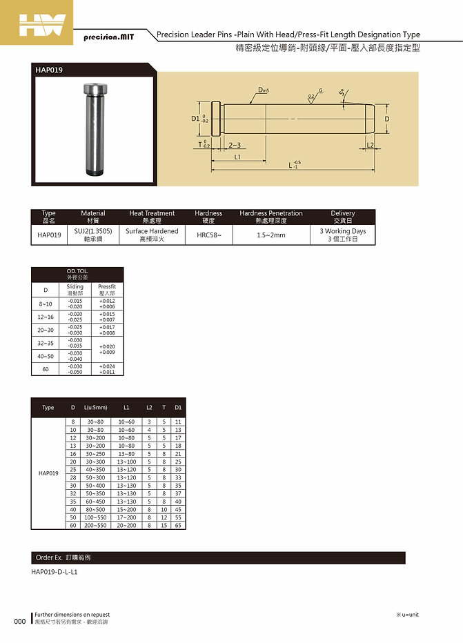 Precision Leader Pins - Plain With Head / Press - Fit Length Designation Type