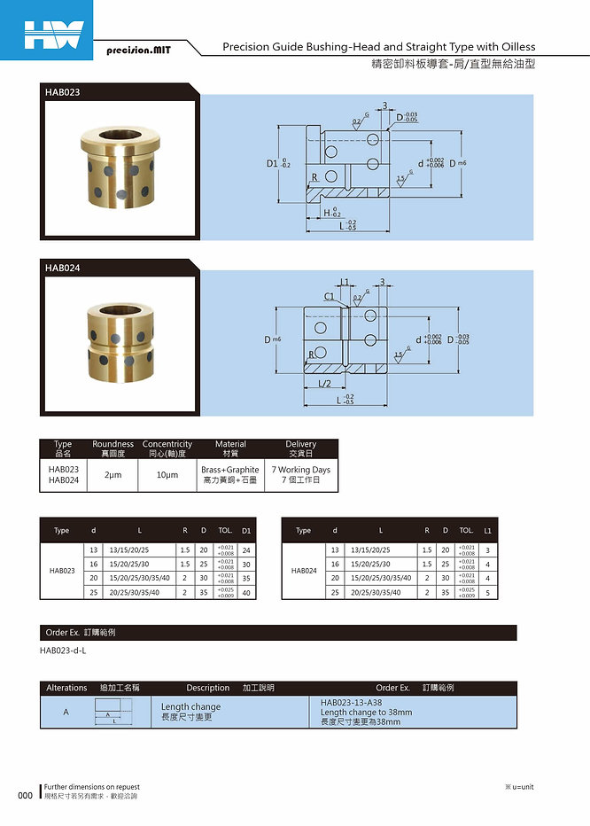 Precision Guide Bushing - Head and Straight Type with Oilless