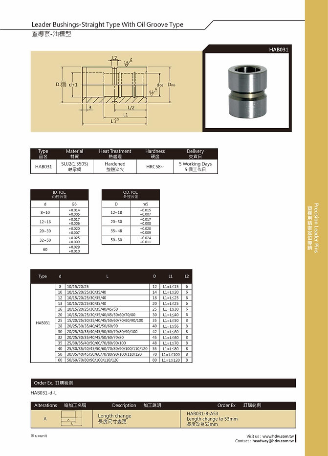 Leader Bushings - Straight Type With Oil Groove Type