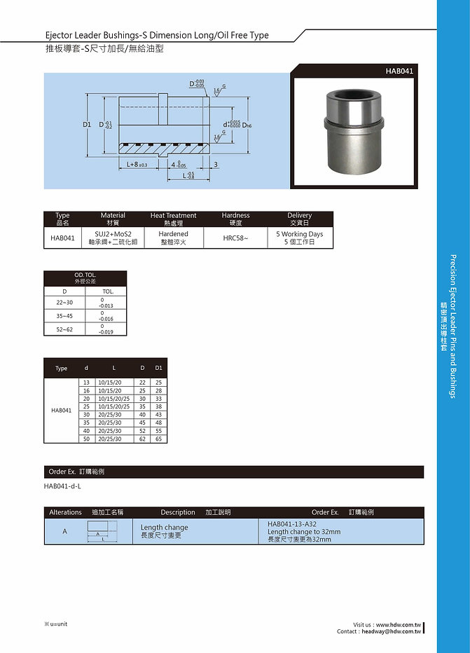 Ejector Leader Bushings - S Dimension Long / Oil Free Type