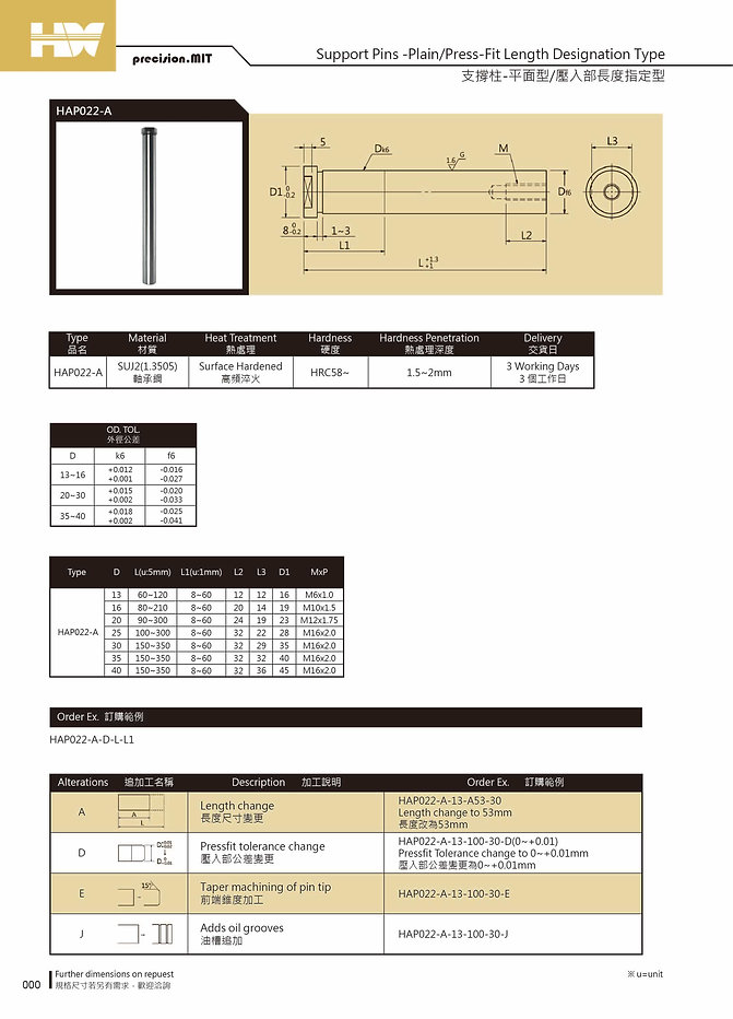 Support Pins - Plain/ Press - Fit Length Designation Type