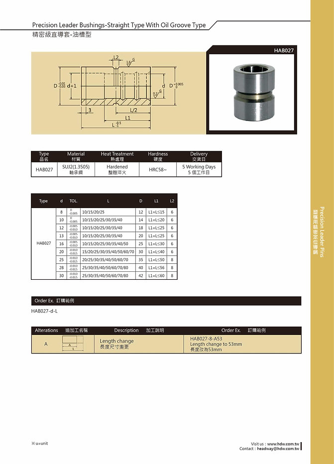 Precision Leader Bushings - Straight Type With Oil Groove Type