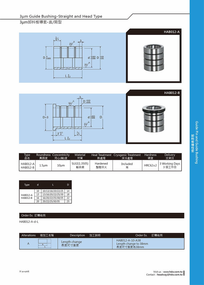 3μm Guide Bushing - Straight and Head Type