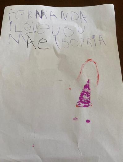 Mensagem da Sofia à mãe dela.