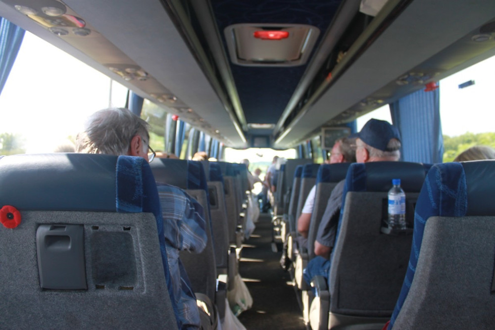 Back of the coach on the 2014 Normandy Tour - Courtesy of Mary Pilon