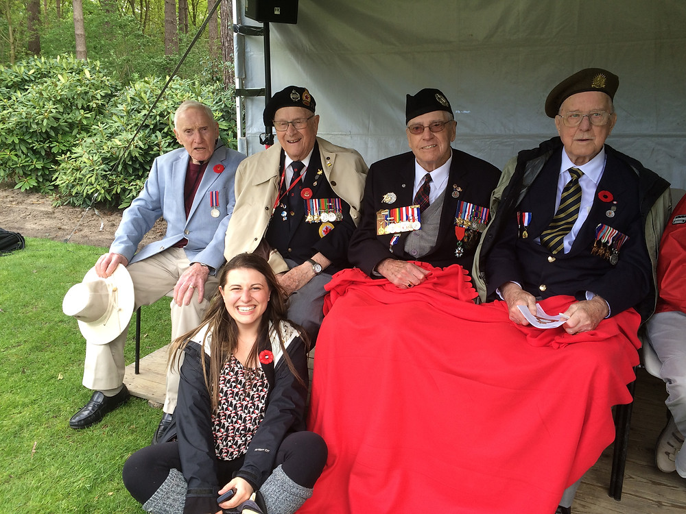 Samantha with veterans [left to right] Frank Fordham, Bud Weeks, George Skerkowski, Ray Lewis in Bergen-Op-Zoom, May 2015