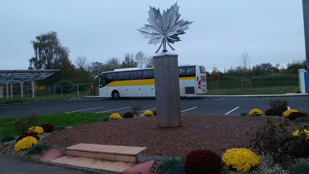 Our Coach parks in the parking lot of the new Hill 70 Memorial, which was inaugurated in August 2017