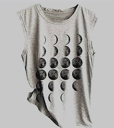 Moon Phases Tank Grey