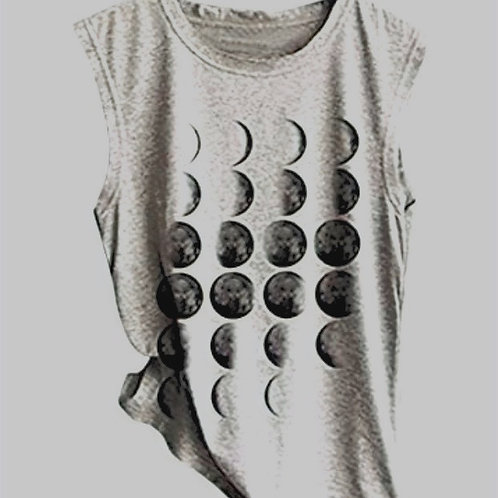 Moon Phases Tank Grey