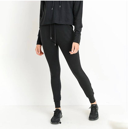 Slim Fit High Waisted Joggers - Black