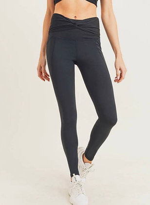 Twist Front High Waist Leggings with side pocket