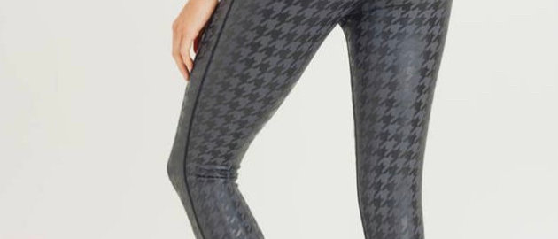 Houndstooth Foil Print High Waist Leggings