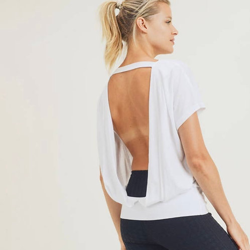 Flow Tee with Cutout Draped Back - White