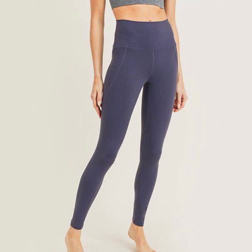 Essential Solid High Waist Leggings - Dark Navy
