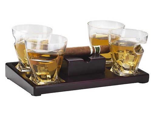 Cigar Holder Whiskey Glasses Set