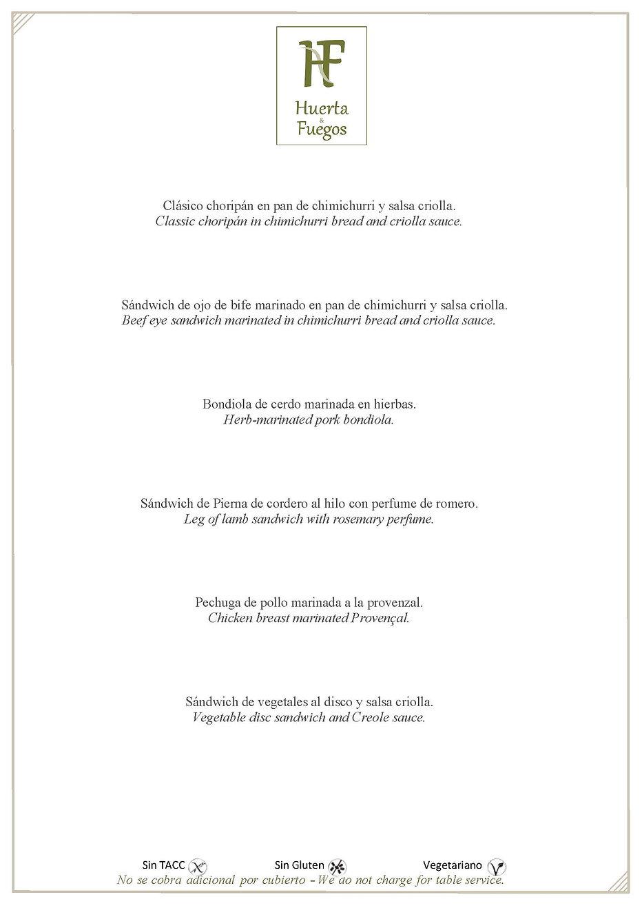 menu Huerta & Fuego