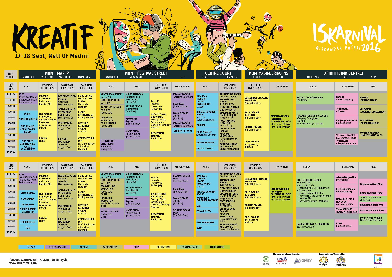 Iskarnival Kreatif Full Schedule