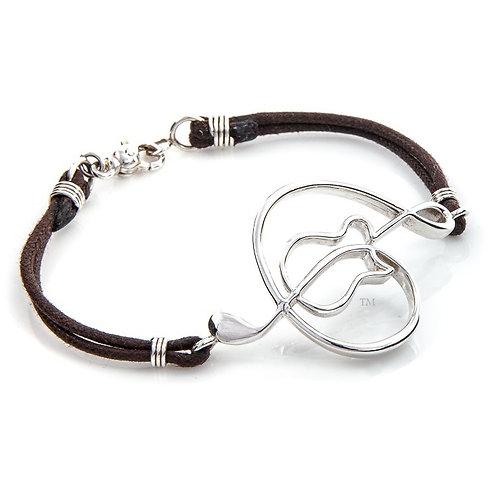 "Sterling Silver 2"" curved leather bracelet"