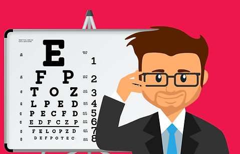 Eye chart cartoon man