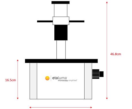 蛍光顕微鏡のサイズ