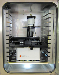 インキュベーター内のLumascope蛍光顕微鏡