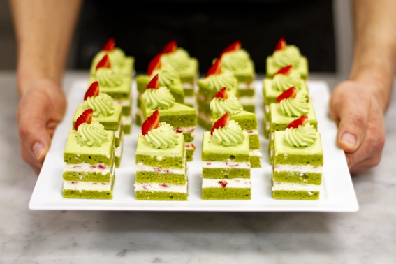 pistachio matcha tea cake dessert by food photographer neil langan