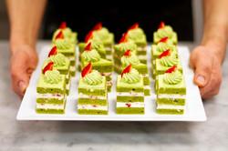 pistachio matcha tea cake dessert by food photographer neil langan