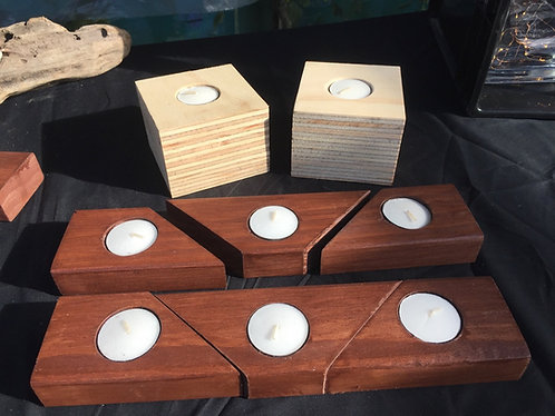3 Piece Wooden Candle holder