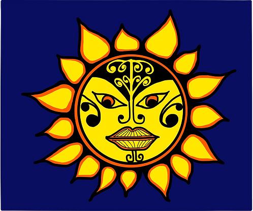 Sun with māori motif