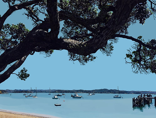 View of Paihia from Russell on Canvas