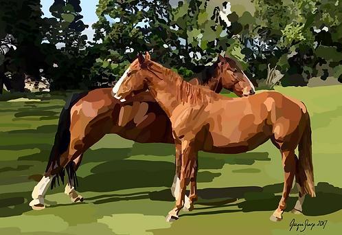 Two horses on Photo Block
